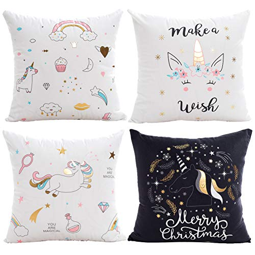 Lot de 4 taies d'oreiller licorne kawaii